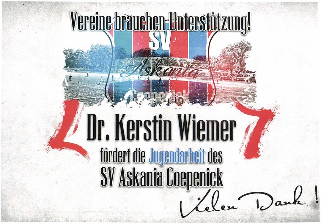 Dr. Kerstin Wiemer fördert die Jugendarbeit des SV Askania Coepenick